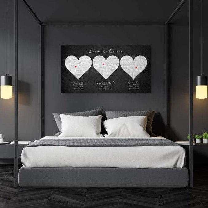 A personalized three heart canvas. Customization includes three different locations, title, color, font, and background.