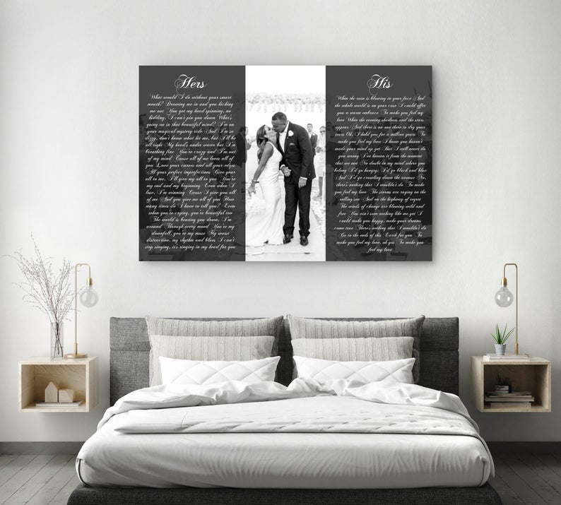 His And Hers Vows With A Photo Second Anniversary Gift