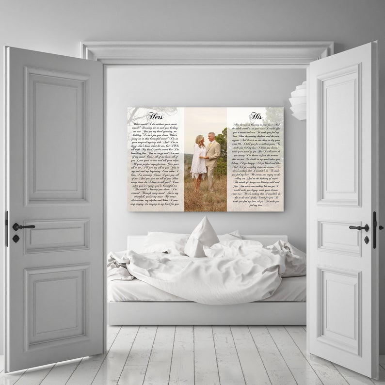 This is a personalized canvas with his and her vows with a image included.