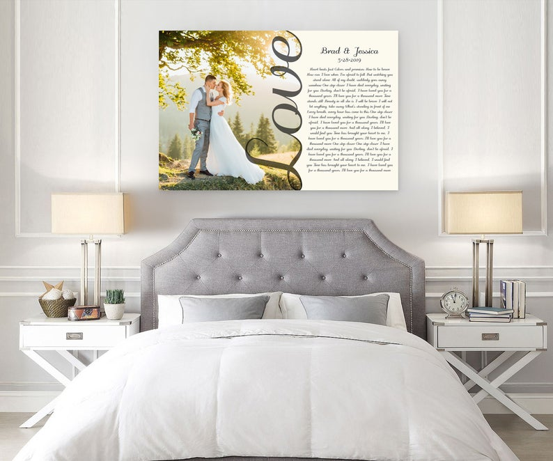 Love Photo with Vows Or Son lyrics Second Anniversary Gift