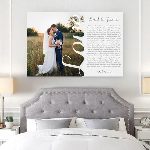 First Wedding Anniversary Gift - Your Wedding Vows On Canvas