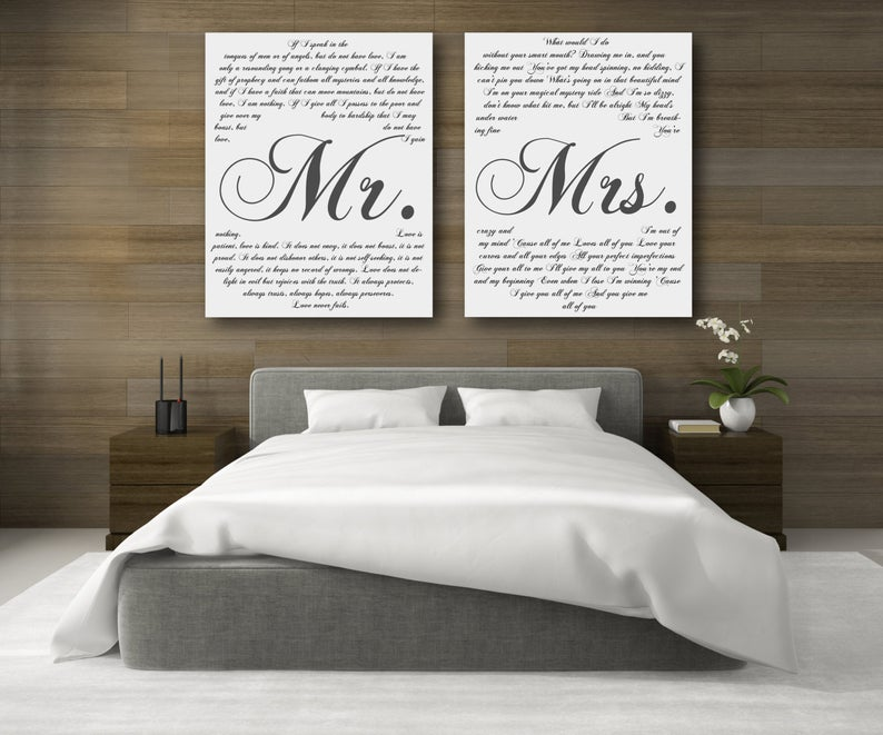 Mr. And Mrs. 2 Piece Canvas Second Anniversary Gift