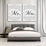 This is a personalized two piece canvas set that includes Mr. and Mrs. vows. You also can customize the font and color.