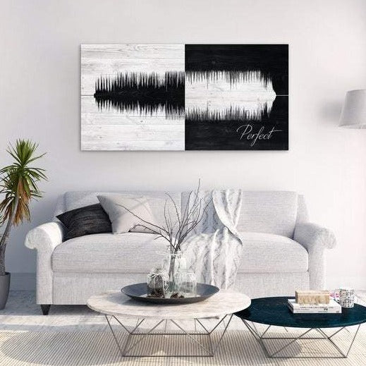 This is a personalized cotton canvas with a sound wave created by the choice of song you wish to use. You also can include the song title and artist.