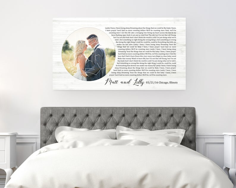 Photo Custom Star Map With Vows Second Anniversary Gift