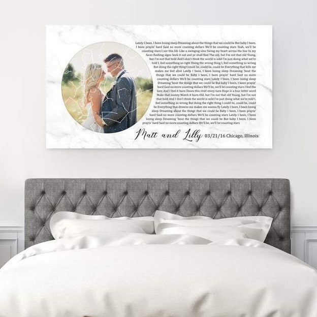This is a personalized star map with a picture and lyrics or wedding vows. You can also include names, wedding date and location.