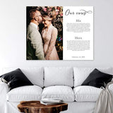 This is a personalized canvas with a photo on half the canvas and vows and wedding date on the other side of the canvas.