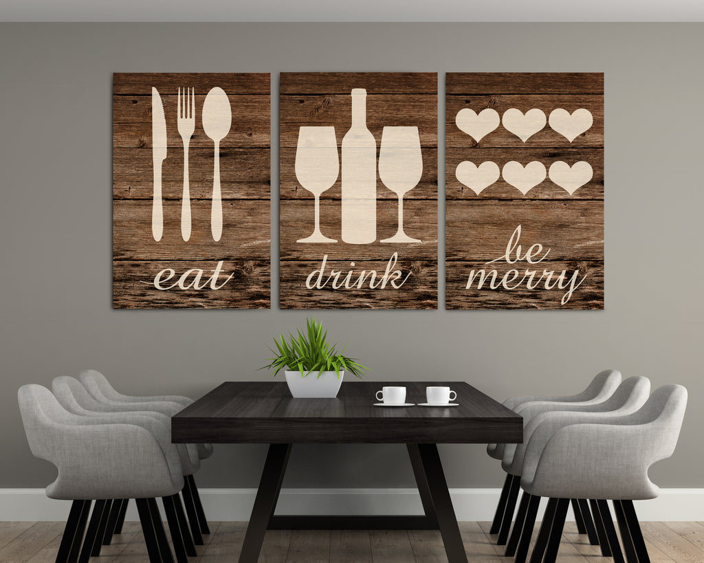 Rustic Eat Drink And Be Merry Canvases