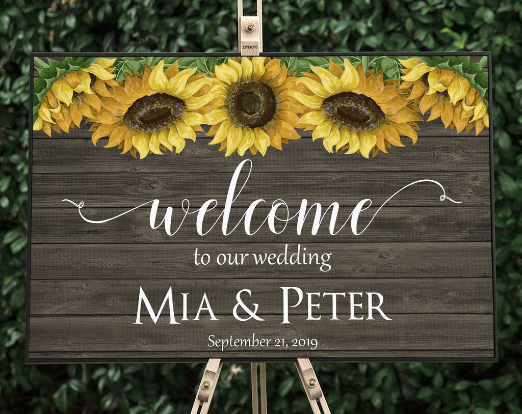 Rustic Sunflower Wedding Welcome Sign