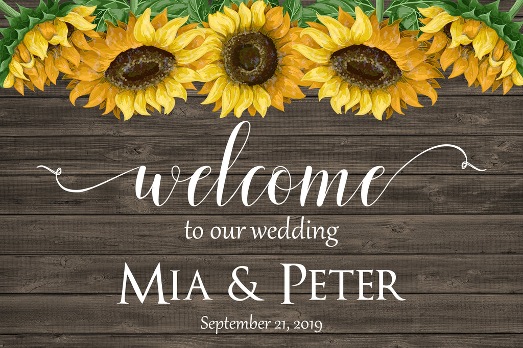Rustic Sunflower Wedding Welcome Sign 1