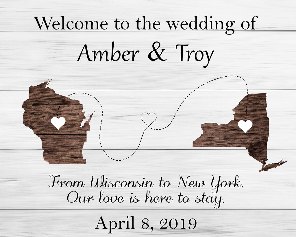Rustic States Wedding Welcome Sign 1