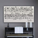 A personalized sheet music canvas with song title. Includes customization of color, font, and song.