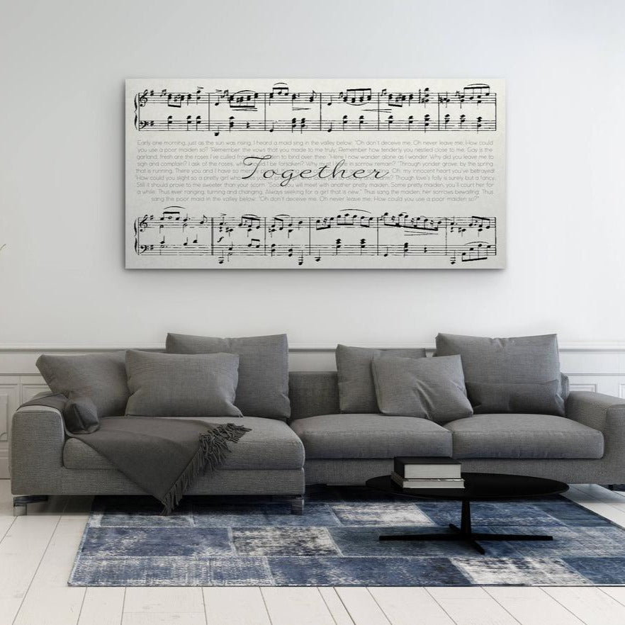 Sheet Music Canvas Above Couch
