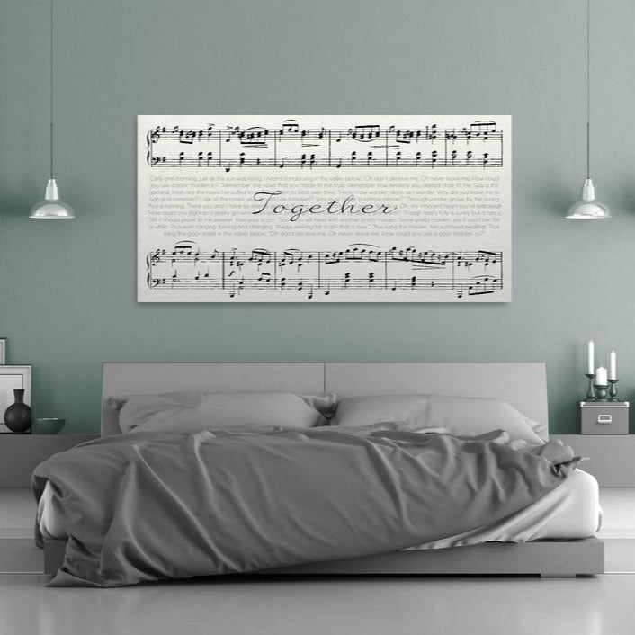 Sheet Music Canvas In Bedroom