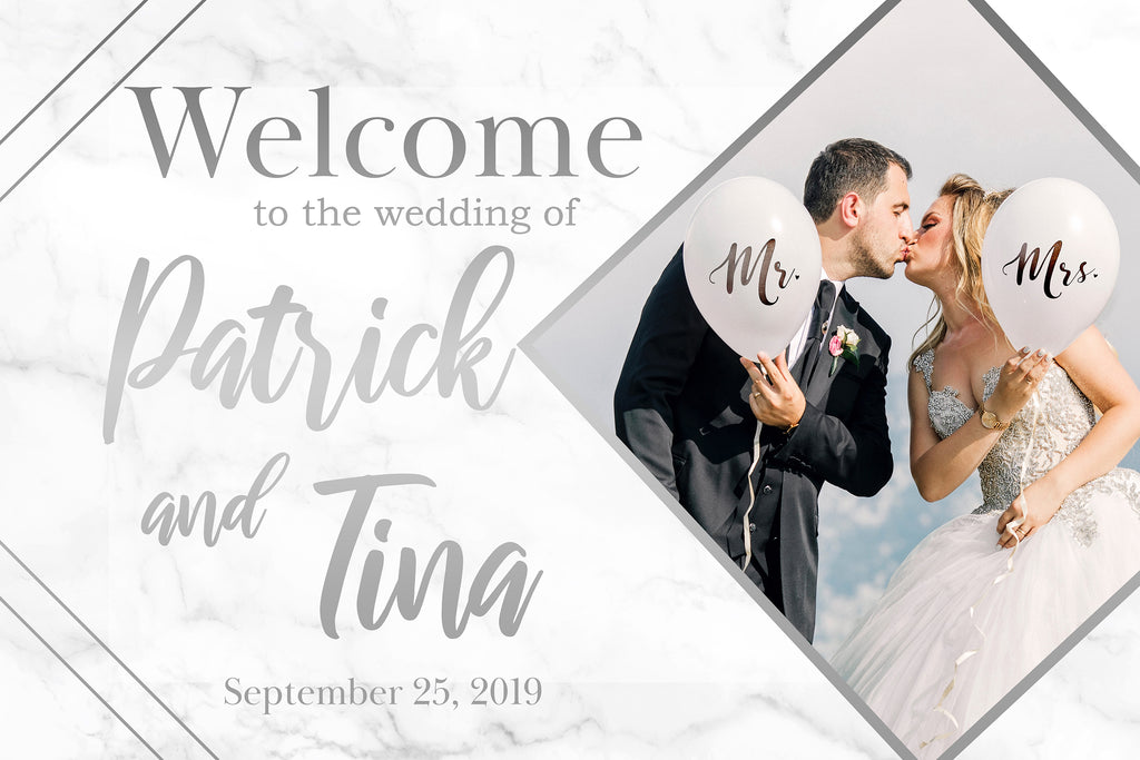 Wedding Welcome Sign - Silver Marble Edition 1