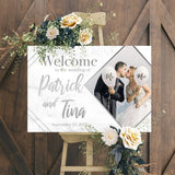 Wedding Welcome Sign - Silver Marble Edition