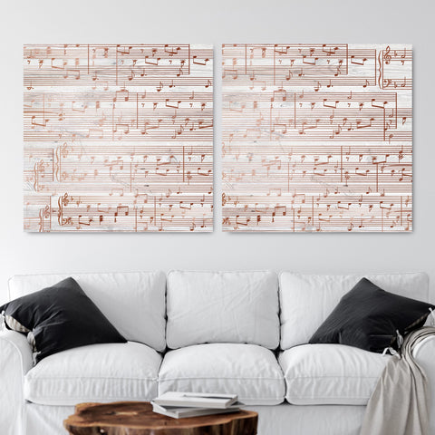 Split Sheet Music Art - Silver Tone