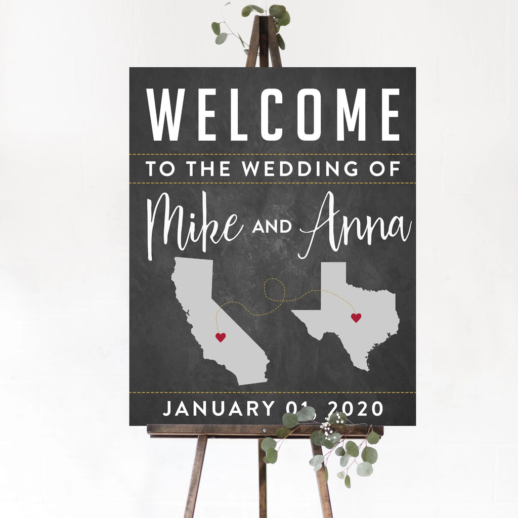 State Wedding Welcome Sign