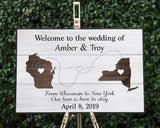 Rustic States Wedding Welcome Sign