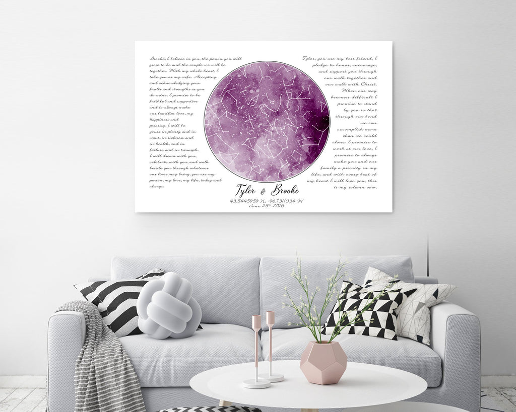Pink Watercolor Custom Star Map