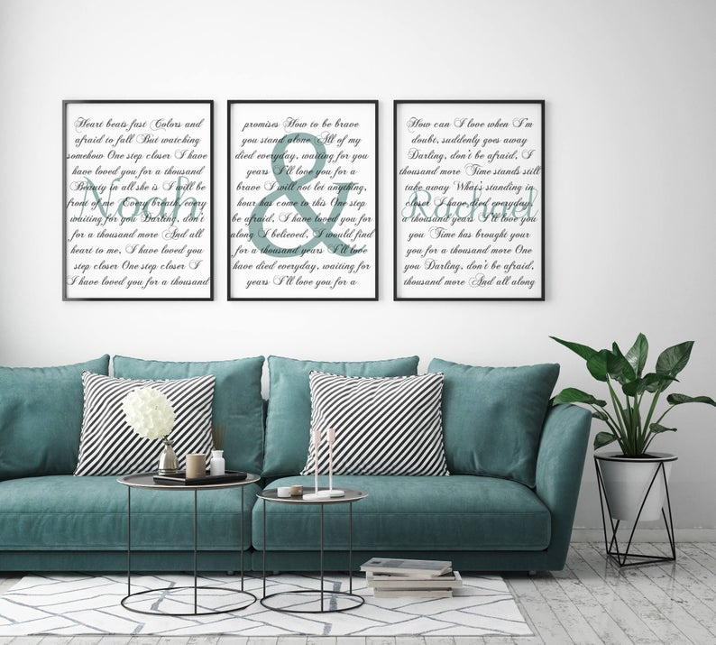 Wedding Song 3 Piece Canvas Set With Names Second Anniversary Gift