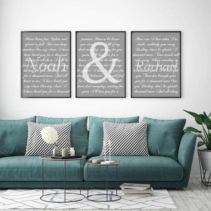 This is a three piece set canvas set. It is a personalized set that includes either a wedding song, wedding vows, or favorite song with names included spread across three different canvases.