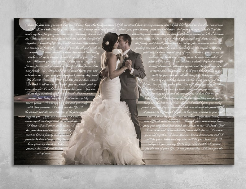 Wedding Vows With Photo On Canvas Second Anniversary Gift