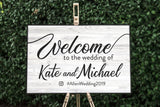 Wedding Welcome Sign - White Rustic Sign