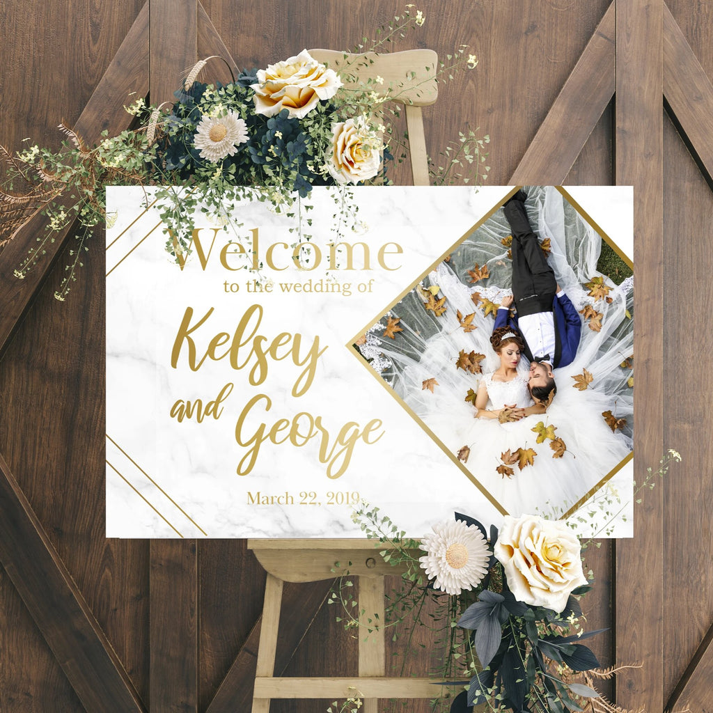 Wedding Welcome Sign - Gold Marble Edition