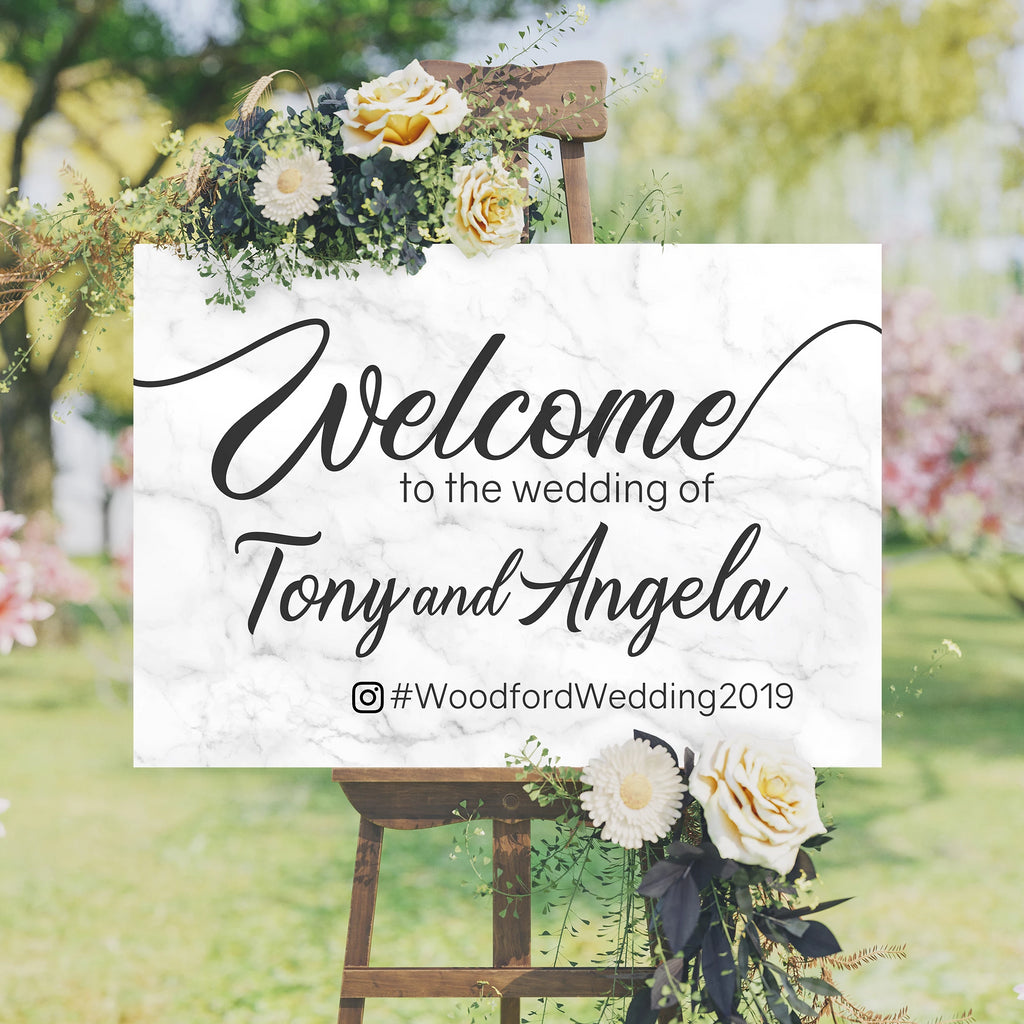 Wedding Welcome Sign Marble Edition