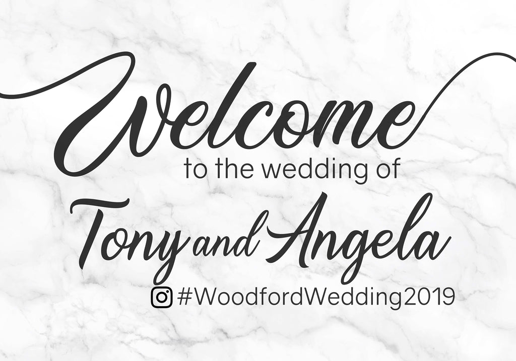 Wedding Welcome Sign - Marble Hashtag Sign