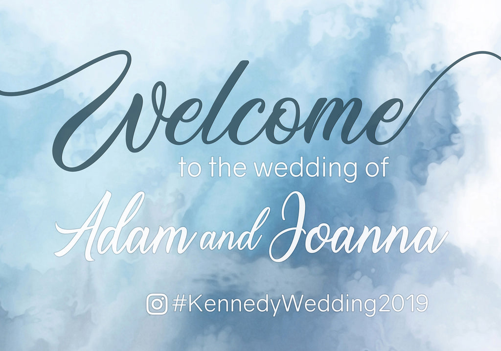Wedding Welcome Sign - Blue Theme
