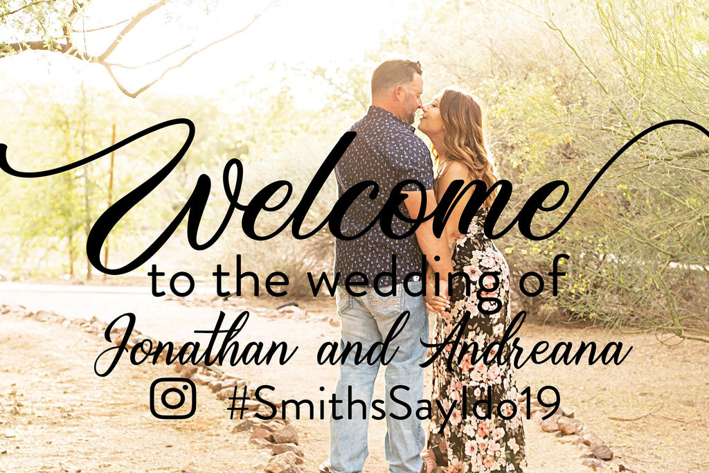 Wedding Welcome Sign With Hashtag