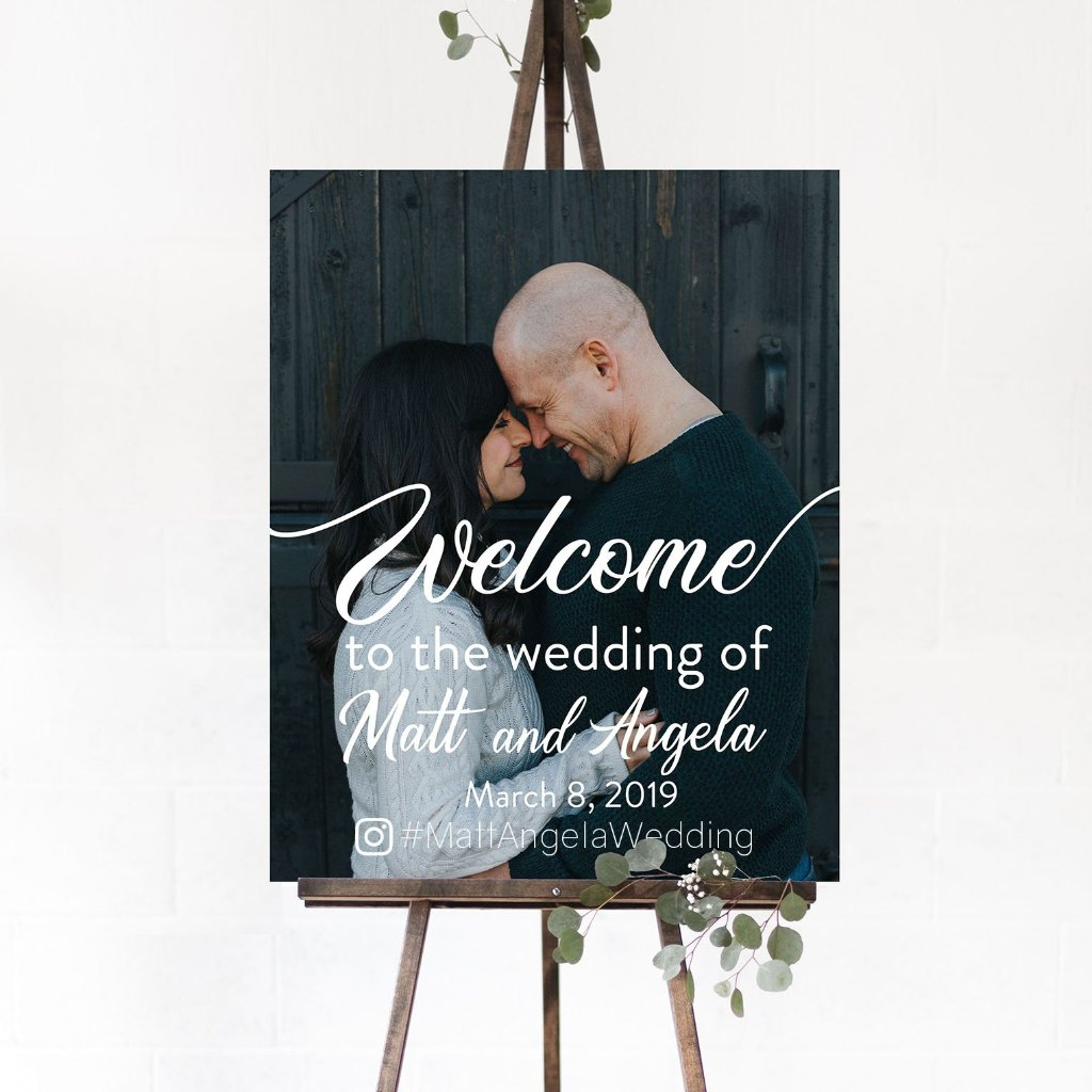 Vertical Wedding Welcome Sign