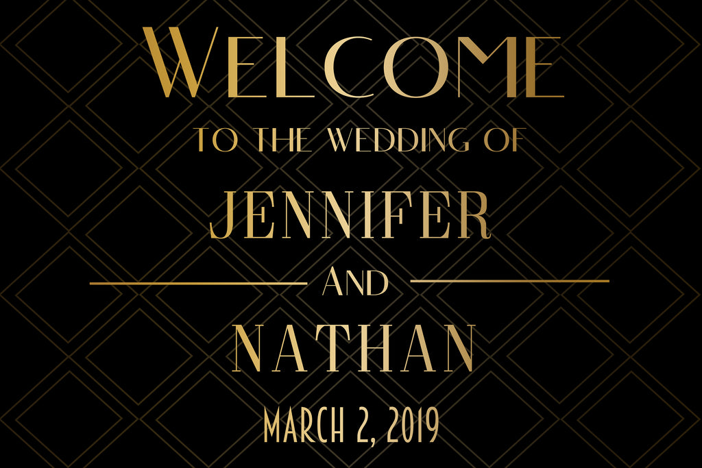 Welcome Wedding Sign - Black and Gold 1