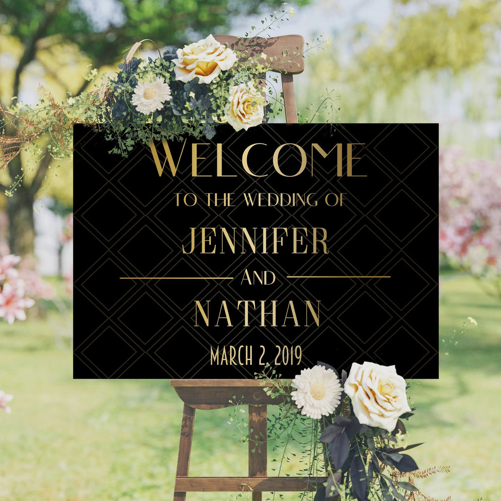 Welcome Wedding Sign - Black and Gold
