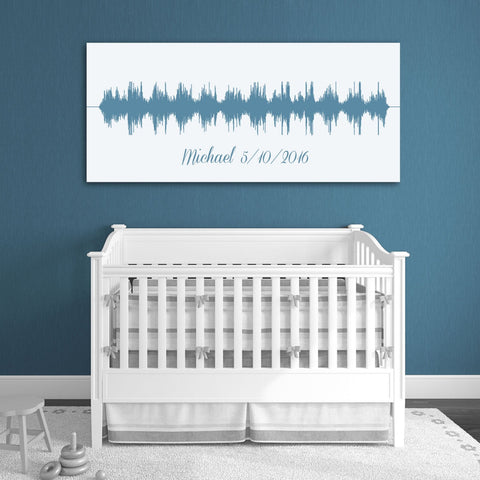 Baby's Heartbeat And Image Soundwave Canvas