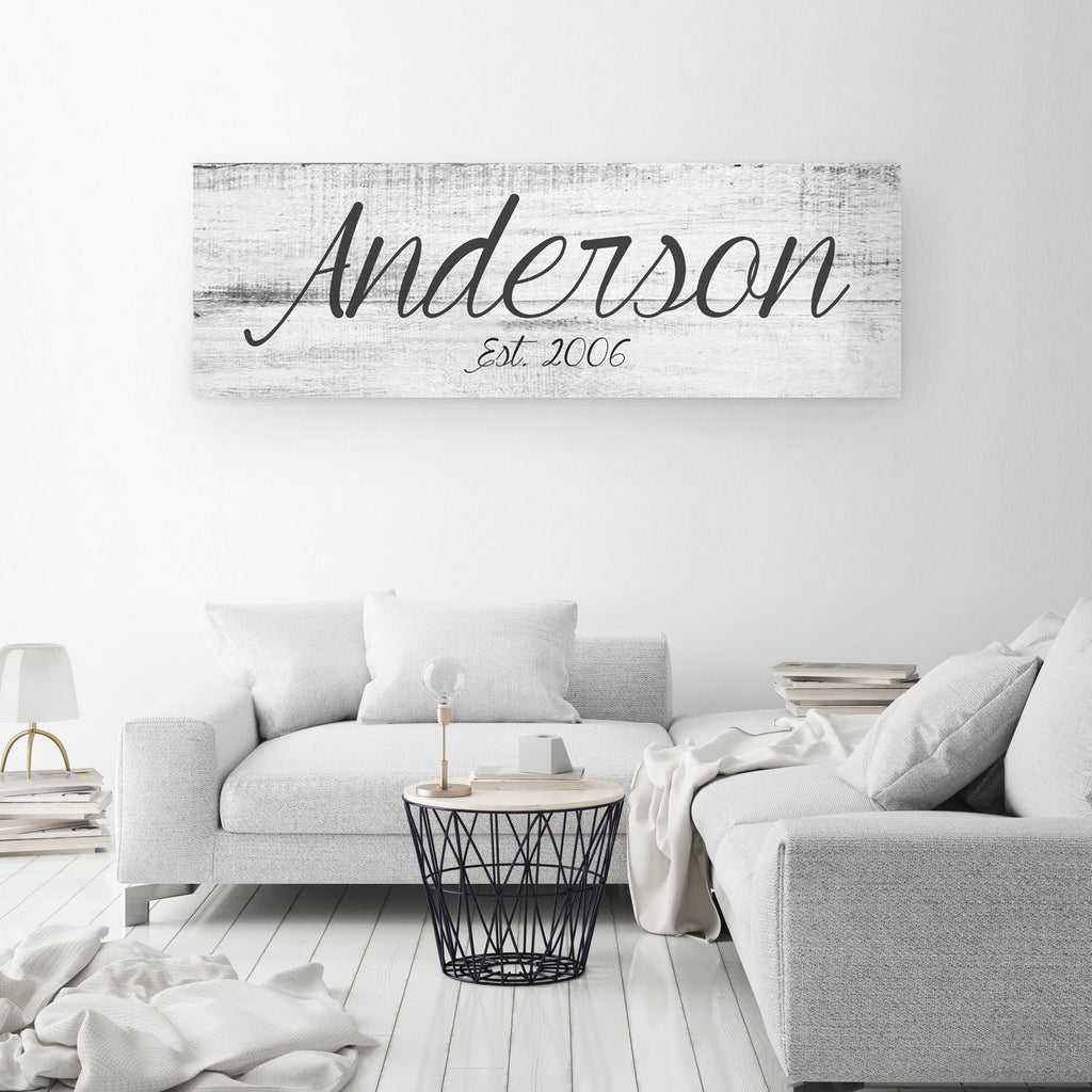 Big family name sign a personalized family canvas