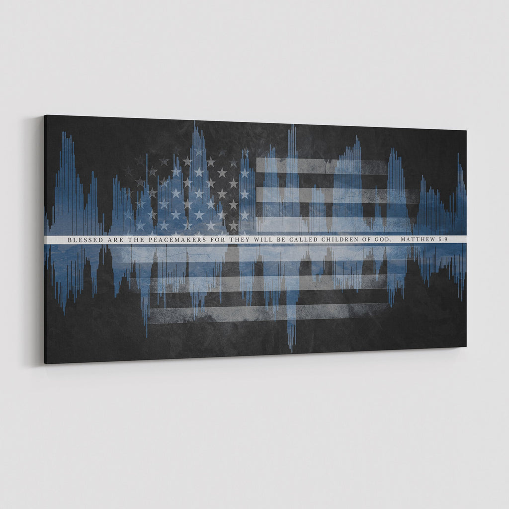 Blue Blessed Are The Peacemakers Canvas