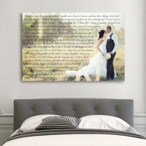 Wedding Vows On Canvas - Heart Shaped Vows