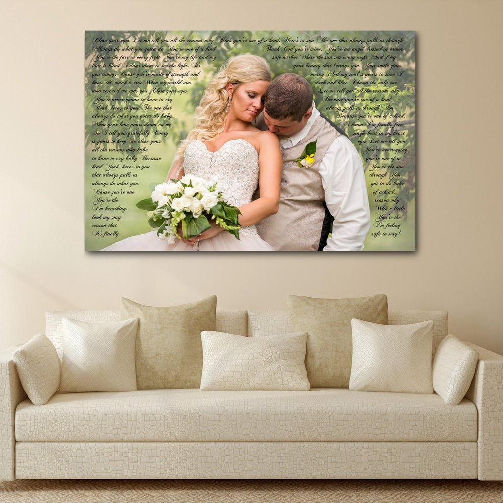 2nd Anniversary Gift - A Personalized Word Art Canvas - Canvas Vows
