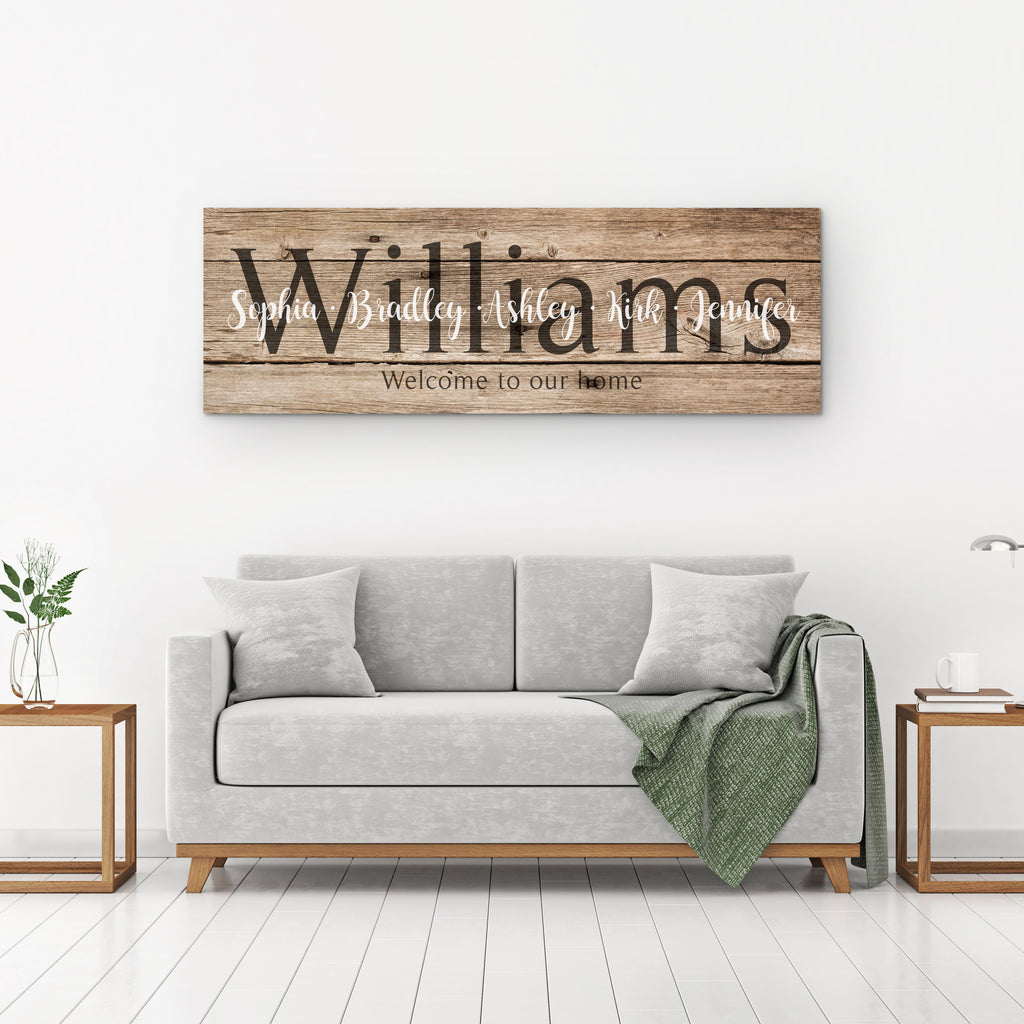 Last Name Sign - Rustic Brown - Canvas Vows