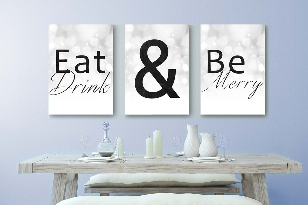 Eat Drink And Be Merry Home Decor Canvases - Canvas Vows