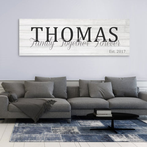Family Name Sign - Rustic White