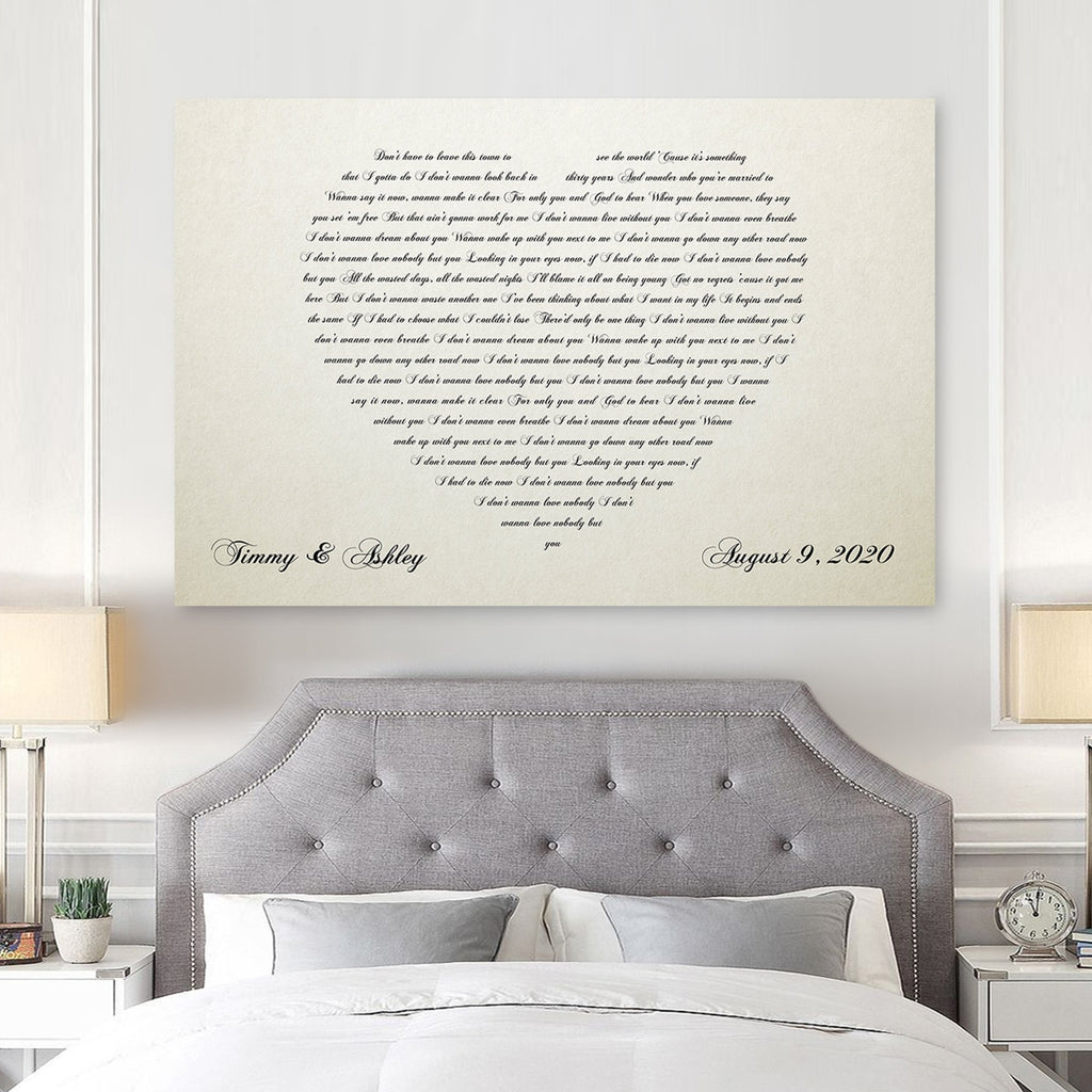 Ivory Heart Canvas - 14th Anniversary Gift