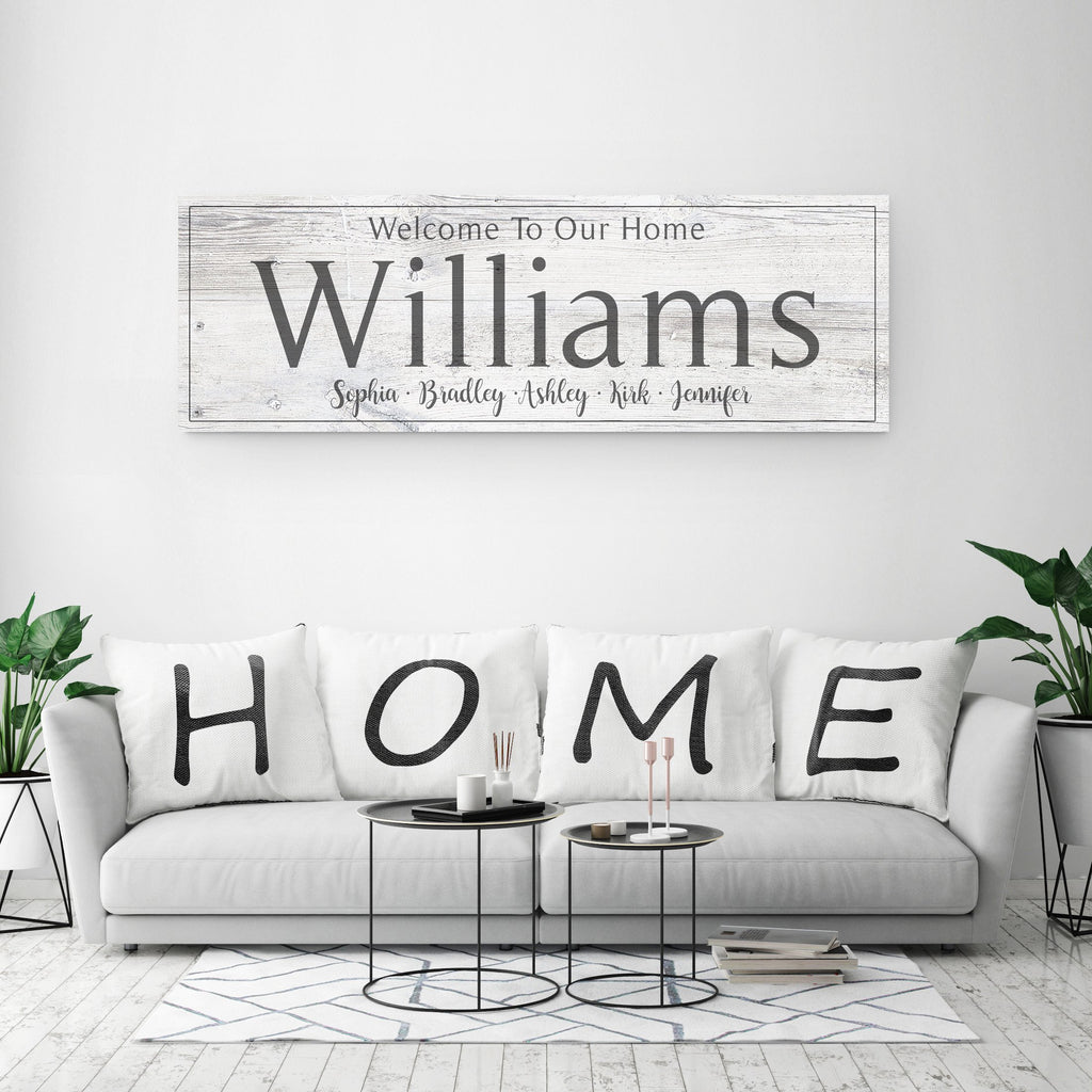 Family Name Sign - Rustic White - Canvas Vows