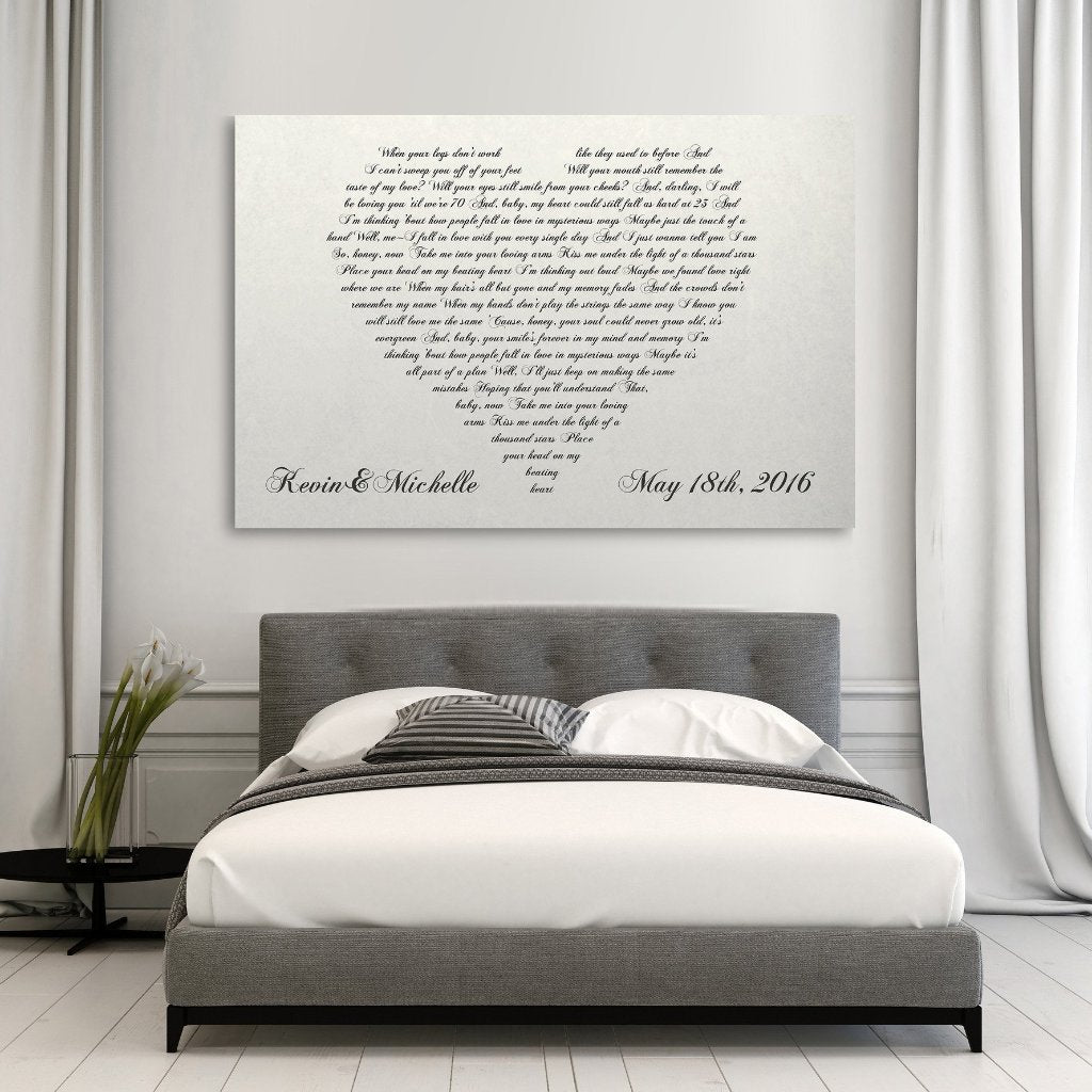 Lyrics In A Heart Canvas - Personalized Canvas - Canvas Vows