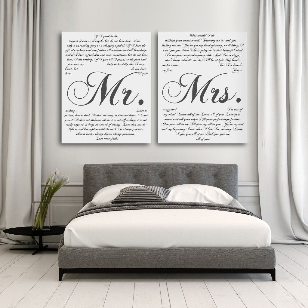 Mr And Mrs Vows On Canvas - Personalized Wall Art - Canvas Vows