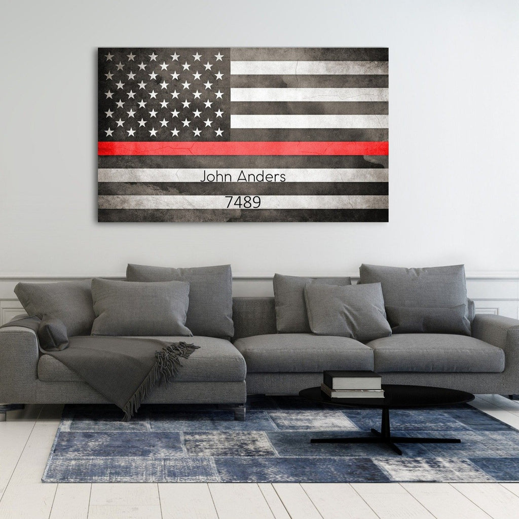 Thin Red Line - A Personalized Gift For Firefighter - Canvas Vows