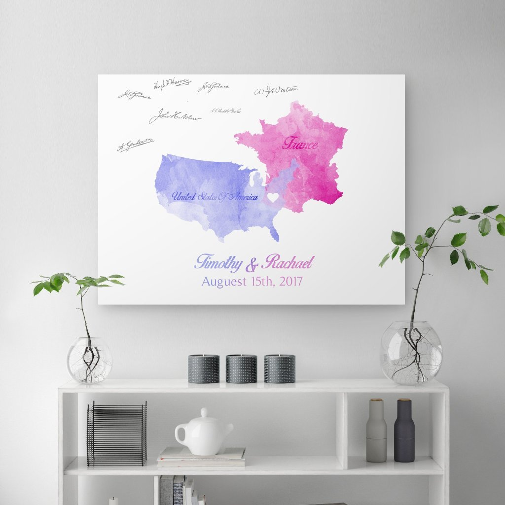 Wedding Guest Book Where We Are From - Canvas Vows